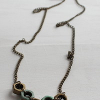 Turquoise and Bronze Chevron Bolt Necklace