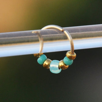 Nose Ring - Gold Filled Nose Ring - Turquoise, Piercing, Body Jewelery