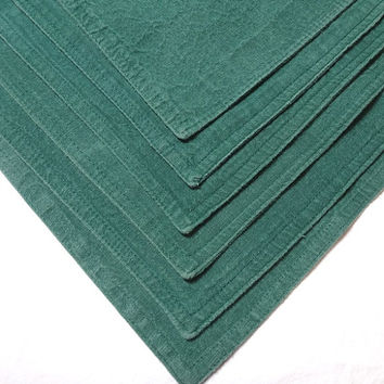1990s Vintage Set of 6 Green Place Mats by Lintex Table, 17 x 12 Inches, All Cotton, Made in India, Vintage Table Linens, 1990s Home Decor