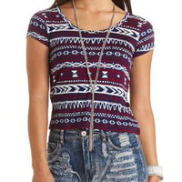 Cross-Back Tribal Print Crop Top by Charlotte Russe - Burgundy Cmb