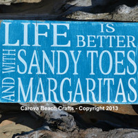 Life Is Better, Sandy Toes, Margaritas, Tiki, Bar, Beach, Coastal, Nautical, Decor, Sign, Wood, Hand Painted, 18x10