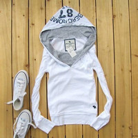 AF Holister Style Hoodie High Quality Cotton Women's Trending Popular Fashion 2016 Cotton Loose Long Long Sleeve V Neck T-Shirt _ 5729