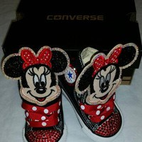 Girls Bling Custom Converse Sneakers- Minnie Mouse- Hello Kitty- Frozen- Emoji's- The