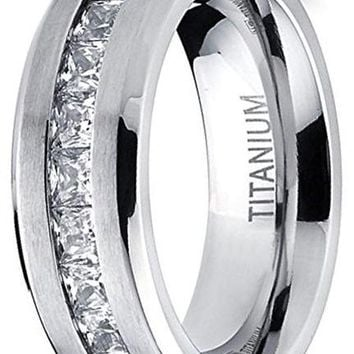 CERTIFIED 6mm Titanium Wedding Band Engagement Ring with 9 large Princess Cut Cubic Zirconia.