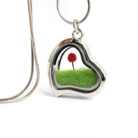 NEW Premium Quality Terrarium Lorax Locket, Red Pom Pom Truffula Tree on Green Grass Needle Felted , Silver Finish