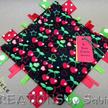 Baby Crinkle Sensory, Ribbon Toy, Tag Blanket, Unisex, Black, Green, Red, Cherries, Hearts, Stars, Cool, Hip, Padded READY TO SHIP 99