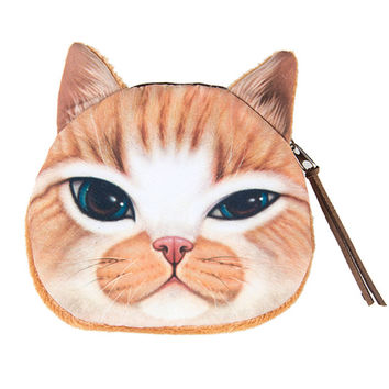 Orange Cat Change Purse