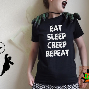 Eat Sleep Creep Repeat Halloween Horror Scary Fancy Dress T Shirt Unisex S M L XL Tumblr Instagram Blogger
