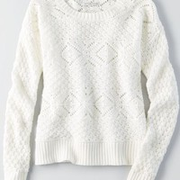 AEO Crew Pullover Sweater , White