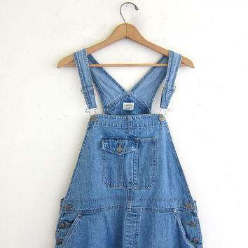 20% OFF SALE Vintage 90s Bib Overalls Jean Shorts. Women's Dungarees. Denim Bib Shorts