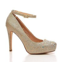 Summer23 By Blossom, Rhinestone Studded Ankle Strap Stiletto Pumps