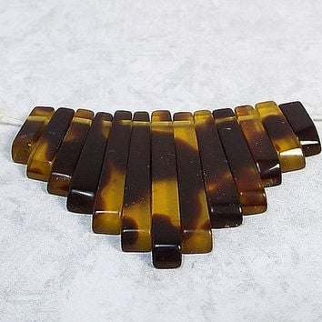 Imitation Tortoise Shell Graduated Fan Bead Set Small Acrylic Plastic Stick Beads Boho Tribal Jewelry Making