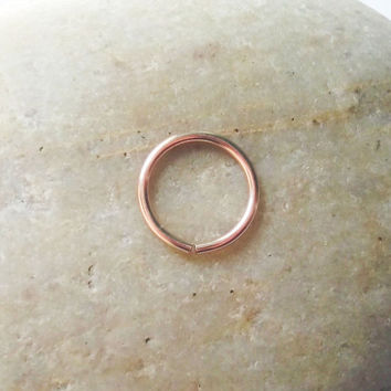 14K Rose Gold Filled Cartilage Hoop Earring, 18 Gauge Pink Gold Nose Ring, Helix Piercing, Rook Hoop, Daith Hoop, Tragus Hoop