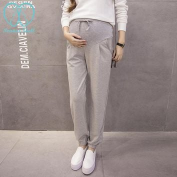 08# 2017 Spring Knitted Sports Maternity Pants Drawstring High Waist Belly Casual Pants for Pregnant Women Pregnancy Trousers