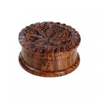 Rosewood Herb Grinder - Carved Pot Leaf Lid - 2-part - 35mm wide - Glass Bongs - Bongs and Waterpipes - Smoking Pipes - Grasscity.com