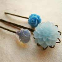 Blue Vintage Flower Hair Pins by PiggleAndPop