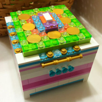 LEGO Jewelry Box with Inside Compartment and LEGO Friends Color Scheme