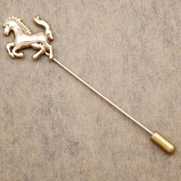 Men Gold Horse Pony Bronco Rodeo Lapel Pin Brooch Tie Hat Scarf Stick Pin Badge Jewelry