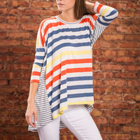 My Stripe Of Love Top, Blue-Coral