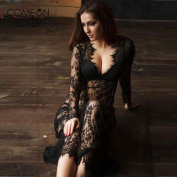 Comeonlover White black wedding maxi sleep dress long sleeve sheer long lace nightgown autumn sexy lingerie baby doll RE80497