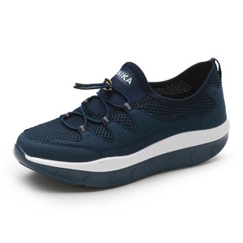 Women Breathable Slim Wedges Sneakers Shoes Women Platform Swing Toning Shoes for Mother