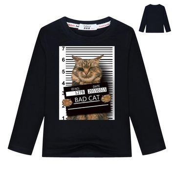 2018 NEW Girls Boys Bad Cat Police Dept Print T-Shirt Cool Cat t shirt Kids Summer Black T shirt hipster Tees 3-13y