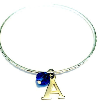 Monogrammed Initial Charm Alex and Ani Inspired Bangle Bracelet with Colored Bead