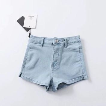 Hot Shorts Women Sexy High Waist Split Hem Denim AT_43_3