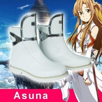 Anime Sword Art Online SAO Asuna Yuuki Cosplay Boots Shoes Costumes