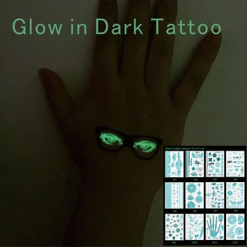 1 PC Glow in Dark  Tattoos with noctilucence Flower Wings Arrow Star Kiss Skull Temporary Inspired Body Tattoos Stickers