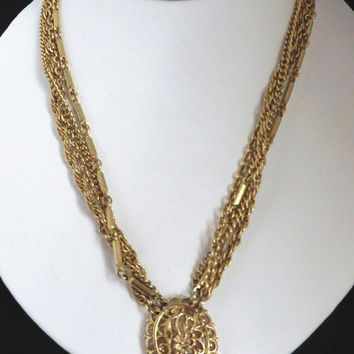 Vintage Kramer Pendant Necklace, Gold Tone Multi Strand Necklace, Chain Link