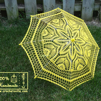 "30"" Yellow Flower Crochet UMBRELLA PARASOL, Barefoot Wedding, Party Favor- Ready to Ship"