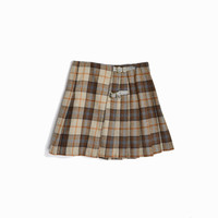 Vintage 90s Pleated Wool Mini Skirt in Brown Plaid / Empire Records Skirt - women's small