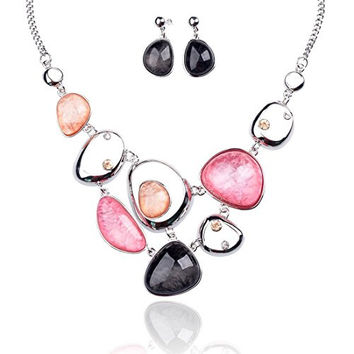 """Vintage Statement Necklace and Earrings Set in Crystal Resin for Women & Girls16.94""""+3.14"""", Anti-Allergic Jewelry Set, Gift for Mom Best Friends"""