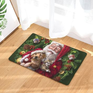 Comwarm Christmas Door Mats Series Animal Puppy Cat Santa Claus Carpet Wreath Flower Sledge Hall Bedroom Living Room Rugs tapis