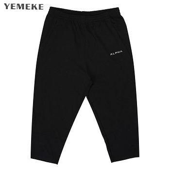 Summer Fashion Casual Loose Men Cropped Short Pants Sweatpants Jogger Shorts Men Black black