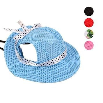 ONETOW 2017 Pet Hat With Ear Holes Bowknot Mesh Breathable Dog Sunscreen Casual Baseball Cap Dogs Beach Hiking Pets Products E2S
