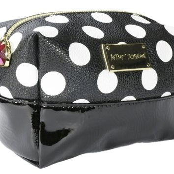 Betsey Johnson Polka Dot Loaf Cosmetic Bag Black and White