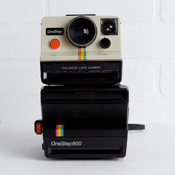 Vintage Polaroid OneStep 600 and SX 70, Pair of Rainbow Polaroids for Instant Camera Collection, Wedding or Photo Booth Prop, Display Only