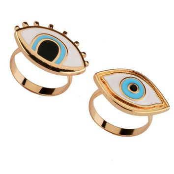 2018 Limited Time-limited Resin Punk Anel Ring Anillos Turkish Evil Eye Rings Jewelry Bff Best Friends Couple Fashion Designer
