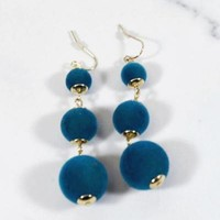 Teal Ball Earrings