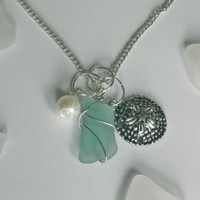 Turquoise Wire Wrapped Sea Glass Necklace with Sand Dollar