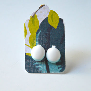 Stud Earrings - White and Robins Egg Pale Blue Stud Earrings - Tiny Stud Earrings - Post Earrings - Colorful Earrings -Handmade Enamel Studs