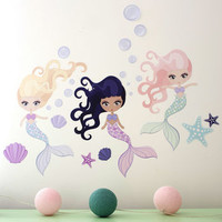 Underwater Mermaid Fabric Wall Stickers