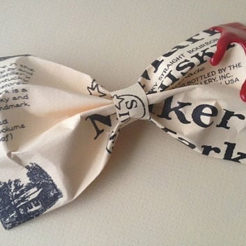 Makers Mark hair bow hair clip up-cycled from Makers Mark bourbon bottle labels