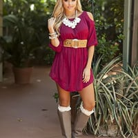 Burgandy Open Shoulder Belted Dress