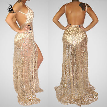 2016 New Fashion High Quality  Lace Patchwork  Sleeveless elegant Holiday dress vestidos  Floor-Length gold Sequined Maxi Dress
