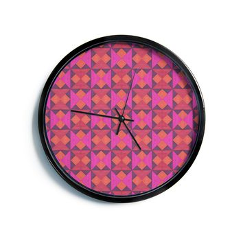"Empire Ruhl ""A Quilt Pattern"" Pink Red Modern Wall Clock"
