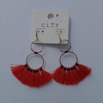 Thread Tassel Earrings - Bright Red