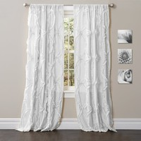 Avery Boho Romantic Ruffle Window Curtain Panel SET